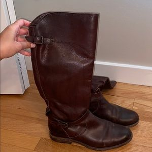 Frye brown knee high leather boots